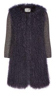 Короткая легкая шуба из вязаного меха овчины с трикотажными рукавами Virtuale Fur Collection