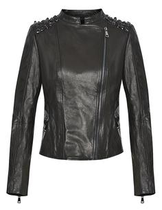 Кожаная куртка с крупными стразами Acasta