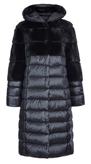 Комбинированное пальто из меха норки и пуховика с капюшоном Fellicci