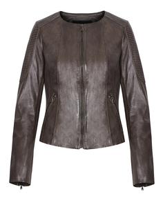 Кожаная куртка на молнии без воротника La Reine Blanche