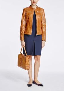 Кожаная куртка на молнии с декоративной прострочкой La Reine Blanche