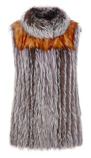 Жилет из чернобурки с кокеткой из меха рыжей лисы Virtuale Fur Collection