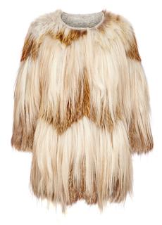 Легкая шуба из меха лисы и длинноворсовой козы на трикотажной основе Virtuale Fur Collection