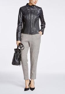 Кожаная куртка с фактурной отстрочкой La Reine Blanche