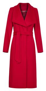 Длинное пальто из вирджинской шерсти и кашемира с поясом Элема