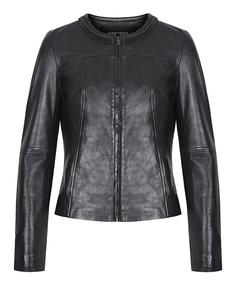 Кожаная куртка-жакет с декоративной отделкой La Reine Blanche