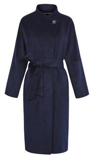 Полушерстяное пальто на поясе с воротником-стойкой La Reine Blanche
