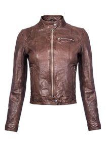 Укороченная кожаная куртка на молнии La Reine Blanche