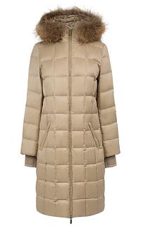 утепленное пальто с отделкой мехом енота La Reine Blanche