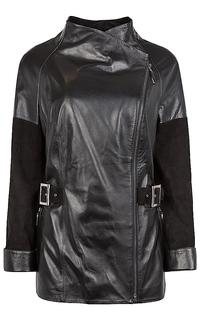 Кожаная куртка с отделкой замшей La Reine Blanche
