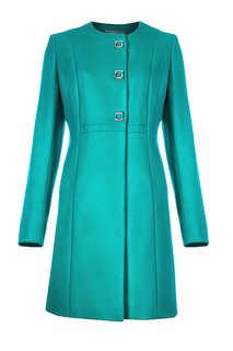 Пальто-платье из вирджинской шерсти с завышенной линией талии Элема
