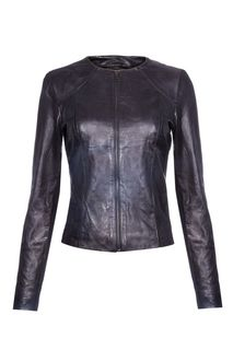 Кожаная куртка-жакет без воротника La Reine Blanche