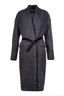 Пальто-халат с ремнем из эко-кожи La Reine Blanche