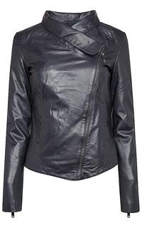 утепленная кожаная куртка с воротником-стойкой La Reine Blanche