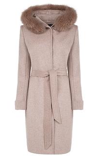 Пальто с отделкой мехом песца La Reine Blanche