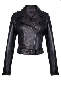 Кожаная куртка-косуха с декором La Reine Blanche