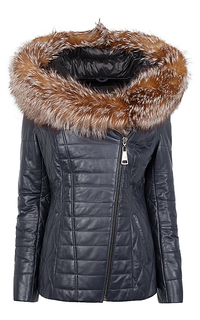 Куртка-трансформер из натуральной кожи с отделкой мехом лисы La Reine Blanche