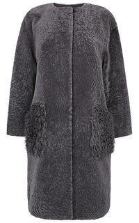 Шуба из овчины с отделкой мехом козлика Virtuale Fur Collection