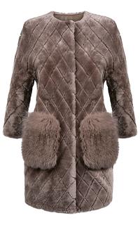 Шуба из овчины с отделкой мехом лисы Virtuale Fur Collection