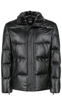 кожаная куртка с отделкой мехом Al Franco