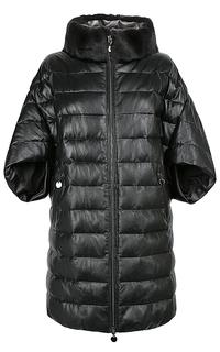 Куртка из натуральной кожи с отделкой  мехом кролика La Reine Blanche