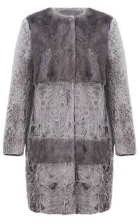 Шуба из овчины с отделкой мехом норки Virtuale Fur Collection