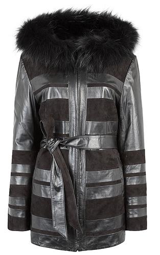 Куртка из натуральной кожи и замши с отделкой мехом енота