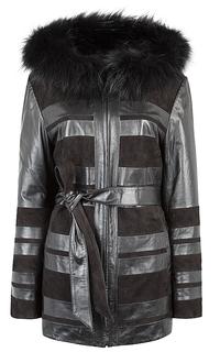 Куртка из натуральной кожи и замши с отделкой мехом енота Le Monique