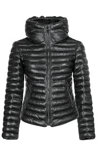 Куртка из натуральной кожи с отделкой мехом козлика La Reine Blanche