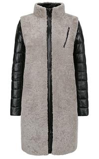 Комбинированная шуба из овчины с натуральной кожей Virtuale Fur Collection