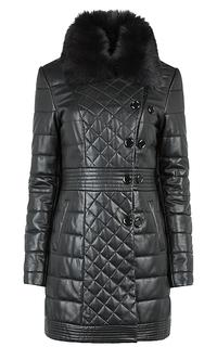 Стеганая куртка из натуральной кожи с воротником из меха енота La Reine Blanche