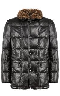 утепленная кожаная куртка с отделкой натуральным мехом Al Franco