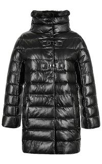 Куртка из натуральной кожи с отделкой  мехом норки La Reine Blanche