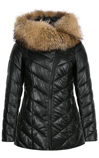 Утепленная куртка из натуральной кожи с отделкой мехом енота La Reine Blanche