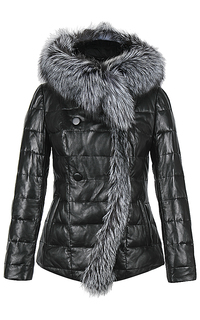 Куртка из натуральной кожи с отделкой мехом чернобурки La Reine Blanche