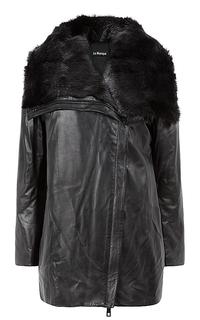 Утепленная куртка из натуральной кожи с отделкой мехом ондатры Le Monique