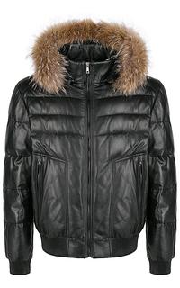 кожаная куртка с мехом енота Jorg Weber