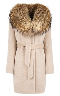 Пальто с воротником из меха енота Элема