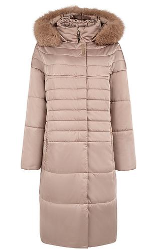Утепленное пальто с мехом песца