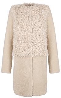 Комбинированная шуба из овчины с мехом козлика Virtuale Fur Collection