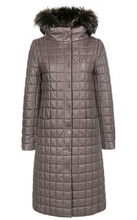 Пальто из натуральной кожи с отделкой мехом енота La Reine Blanche