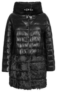 Куртка из натуральной кожи с комбинированной отделкой мехом козлика и кролика La Reine Blanche
