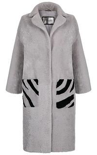 Шуба из овчины с контрастным рисунком Virtuale Fur Collection
