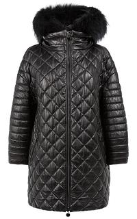 Удлиненная куртка из натуральной кожи с отделкой мехом енота La Reine Blanche