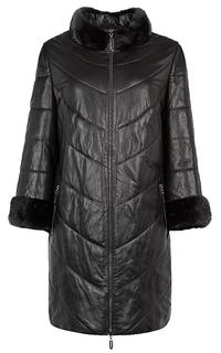 Куртка из натуральной кожи с отделкой мехом норки и трикотажными митенками La Reine Blanche
