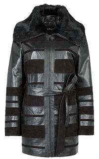 Куртка из натуральной кожи и замши с отделкой мехом кролика Le Monique