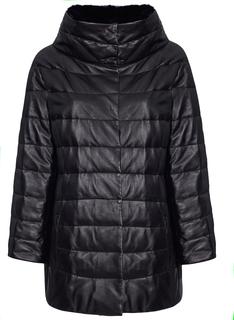 женская куртка из натуральной кожи с отделкой мехом кролика La Reine Blanche