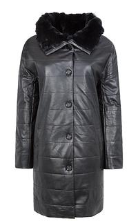 Пальто из натуральной кожи воротником из меха кролика La Reine Blanche