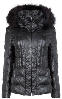 Куртка из натуральной кожи с отделкой мехом енота La Reine Blanche