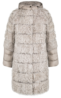 Комбинированная шуба из меха козлика Virtuale Fur Collection